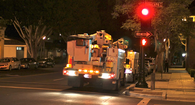 <p>Southern California Edison Co. crews worked into the night Tuesday to repair an equipment failure in an underground vault that caused a blackout in downtown Santa Barbara.</p>
