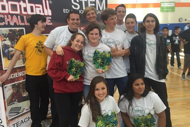 Members of the Santa Barbara High School Robotics Club celebrate their success at the Greater Los Angeles Regional Botball Tournament.