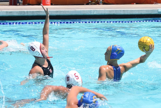 Santa Barbara High alum Kelsey O'Brien of UCLA shoots against Dos Pueblos grad Jamie Neushul of Stanford during the MPSF semifinals last month. The two local players are among 10 from the 805 Santa Barbara Water Polo Club competing at this weekend's NCAA Women's Water Polo Championships at UCLA.