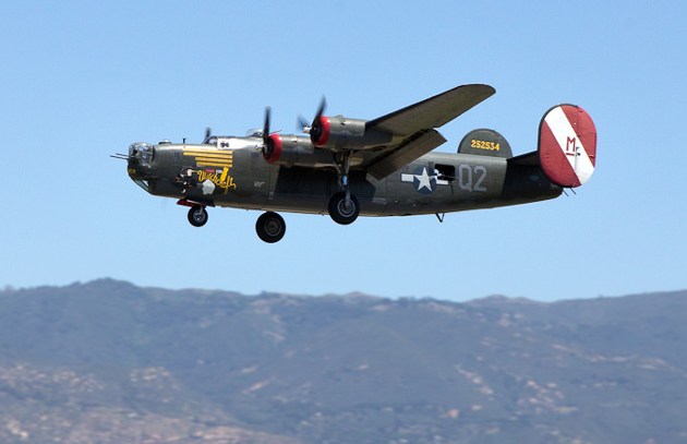 The Consolidated B-24 Liberator soars above the Santa Barbara Airport on Monday. The Collings Foundation's Wings of Freedom Tour, featuring the B-24 and other vintage fighter aircraft, will be on display through noon Wednesday at the airport.