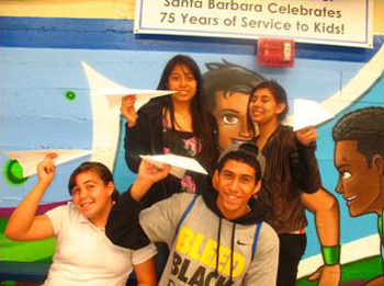 Boys & Girls Club artists, from left, Amanda Rocha, Maria Murrillo, Isaiah Tapia and Julia Danalevich will help paint SafeLaunch co-founder Ron Cuff's Cessna as part of the