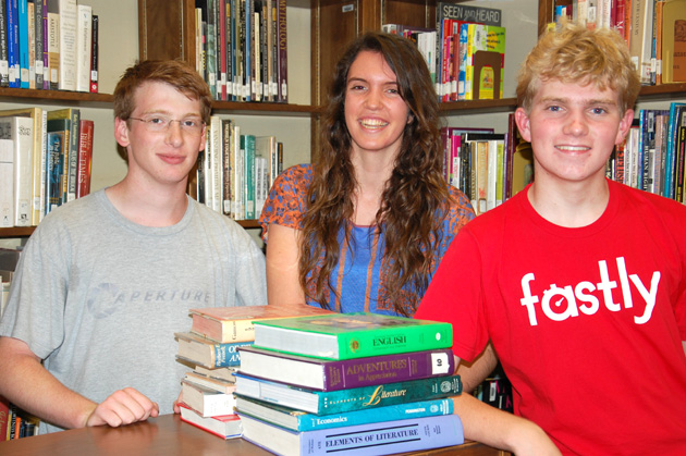Dos Pueblos High School students Charlie Green, left, Delia Bullock and John Grosen recently beat about 2,000 other teams to win a national Toaster Wars competition. Dos Pueblos team members Andrew Dutcher and Alex Meiburg are not pictured. (Santa Barbara Unified School District photo)