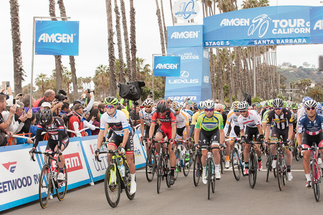 Stage 4 of the 2017 Amgen Tour cycling race will start by the beach on Cabrillo Blvd.