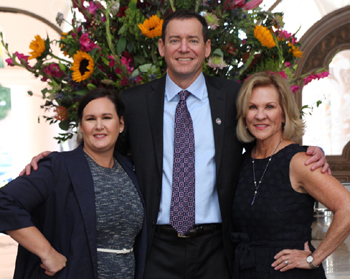 Candace Winkler, left, president and CEO of the Scholarship Foundation of Santa Barbara, with steering committee co-chairs Arnold Brier of Yardi Systems and Renee Grubb of Village Properties.