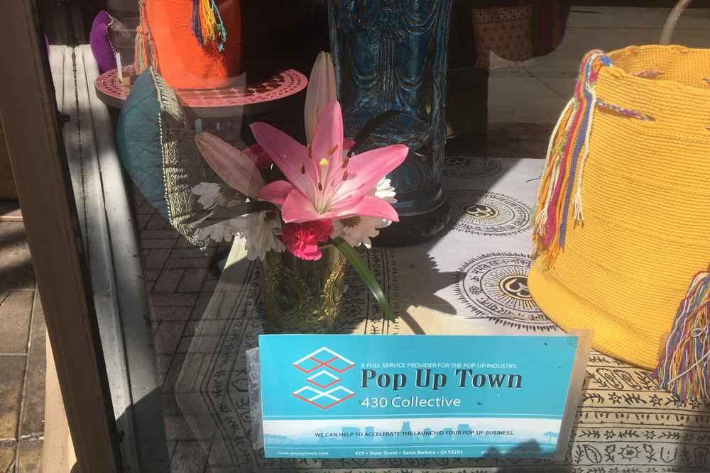 A pop-up shop have on State Street in downtown Santa Barbara.