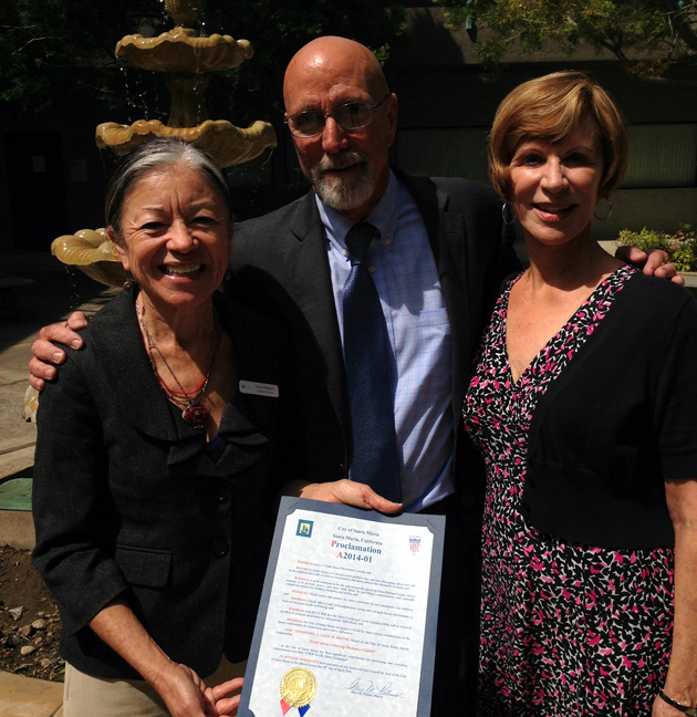 <p>CALM Executive Director Cecilia Rodriguez, left, accepts a proclamation in honor of Child Abuse Prevention Month from Santa Maria Mayor Pro-Tem Jack Boysen, center, along with CALM board member Judy Markline.</p>