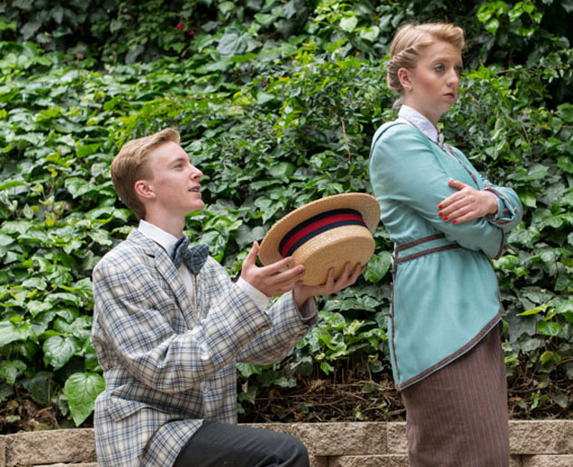 <p>John Butler as Harold Hill with Marian the Librarian, played by Ashley O&#8217;Brien, in Providence&#8217;s production of <em>The Music Man</em>.</p>