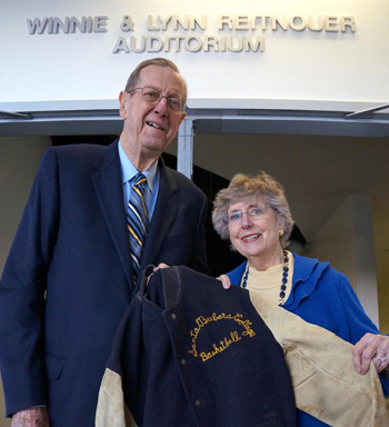Lynn and Winnie Reitnouer outside their eponymous auditorium, a 100-seat events venue inside UCSB's Intercollegiate Athletics Building. (George Foulsham photo)