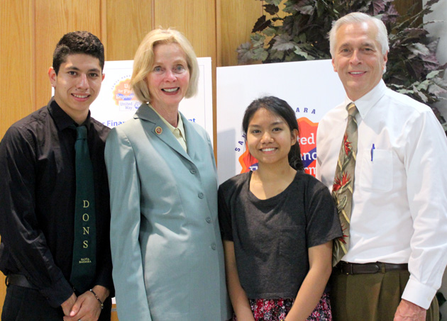 <p>From left, Jesus Terrazas, CEO of Dons Net Café and senior at Santa Barbara High School; Rep. Lois Capps; Amazing Grace Llanos, Dons Net Café member and junior at Santa Barbara High School; and Paul Didier, president and CEO of United Way of Santa Barbara County.</p>