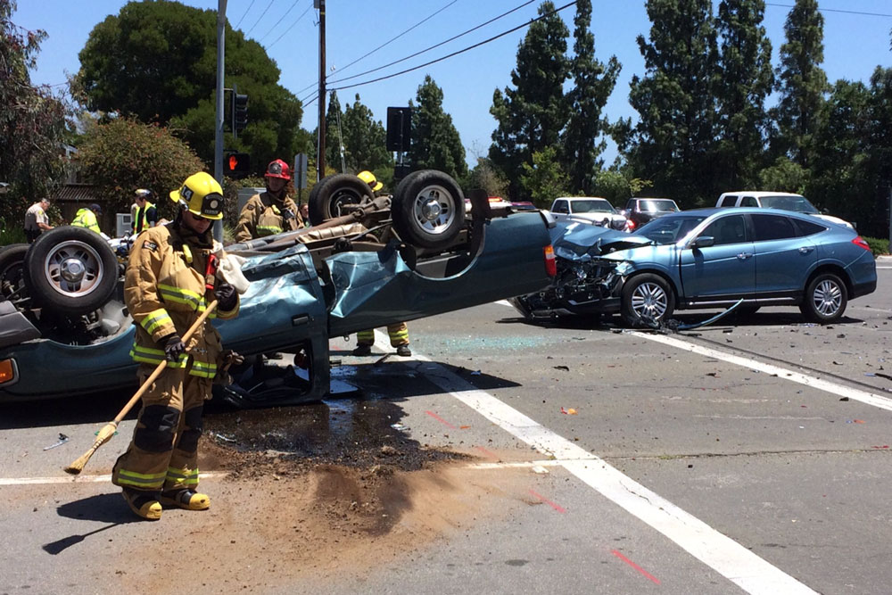 Two people were injured Tuesday afternoon in a vehicle accident at Fairview Avenue and Cathedral Oaks Road in Goleta.