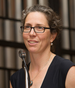 Dr. Susannah Porter of UCSB delivers the address during Wednesday's Cum Laude Society induction ceremony. (Cate School photo)