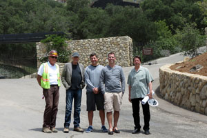 Some key players have been a part of completing the Santa Barbara Bowl Master Plan since 1994. Among them, from left, are construction manager Tom McCutcheon, foundation board member Eric Lassen, bowl executive director Rick Boller, bowl program director Eric Shiflett, and architect Steve Carter. (Gina Potthoff / Noozhawk photo)