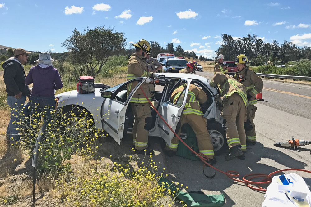Three people were injured Wednesday in a two-vehicle collision on Highway 246 east of Lompoc.