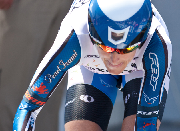 Kristen Armstrong rides to victory in the 2012 Amgen Tour of California Women's Individual Time Trial in Bakersfield. She also won the Women's Time Trial at the 2008 Summer Olympics in Beijing.