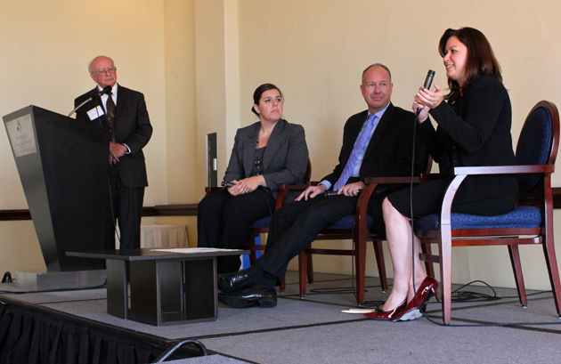 Philanthropic Initiative founder Peter Karoff, left, moderates as panelists Carrie Brown, second from left, of Cox Communications Orange County, Jeff Hoffman of Hoffman & Associates and Mari Ellen Loijens of Silicon Valley Community Foundation speak Friday during the Santa Barbara Foundation's Corporate Philanthropy Roundtable at Fess Parker's DoubleTree Resort.
