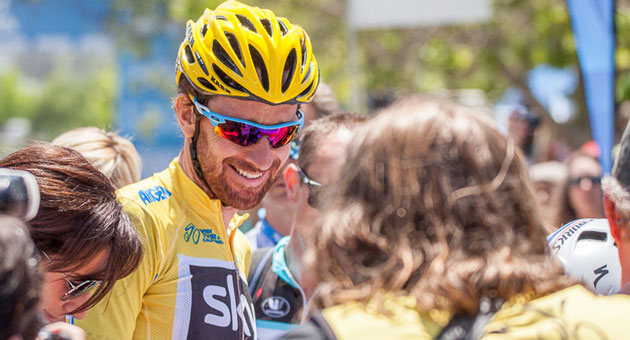 <p>Bradley Wiggins is all smiles Sunday after claiming the title in this year&#8217;s Tour of California bike race, which ended in Thousand Oaks.</p>