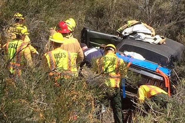 A new fatality off Highway 154, but apparently not from the crash. (Santa Barbara County Fire Department photo)