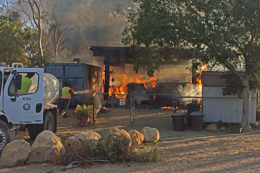 Firefighters responded Thursday to a barn fire at the Hearts Therapeutic riding facility near Santa Barbara.