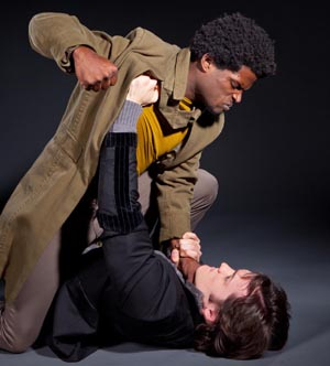 Jak Watson, left, plays Laertes and Merlin Huff is Hamlet in the UCSB production of William Shakespeare's classic.