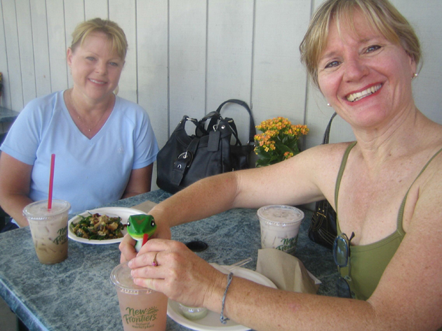 Alexandra Williams and friend Diane meet for lunch in the Santa Ynez Valley. It was so hot that even the gecko had some chai!
