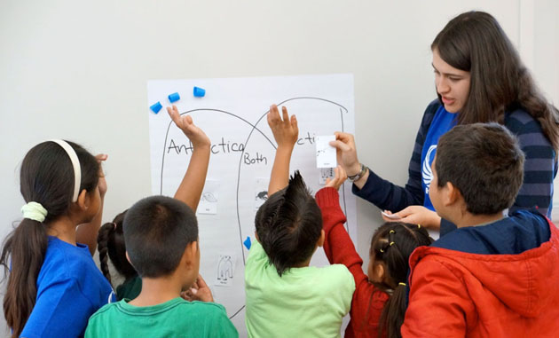 <p>First-graders from Harding University Partnership School learn about Antarctica during UCSB Day.</p>