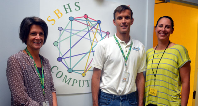<p>Santa Barbara High School&#8217;s new Computer Science Academy will start in the fall under director Paul Muhl, center, seen here with Foundation for SBHS development director Katie Jacobs and parent volunteer Felicia Kashevaroff.</p>