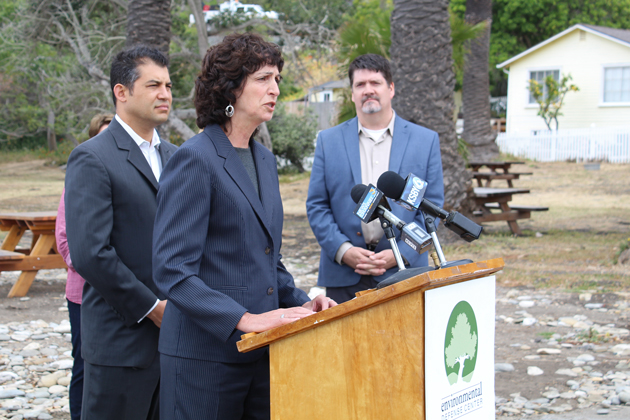 Legislators and environmental groups including Linda Krop from the Environmental Defense Center gathered at Refugio State Beach Thursday on the one-year anniversary of the oil spill.