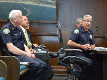Santa Barbara Police Chief Cam Sanchez and his command staff talk about next year's budget with the Santa Barbara City Council on Monday. (Giana Magnoli / Noozhawk photo)