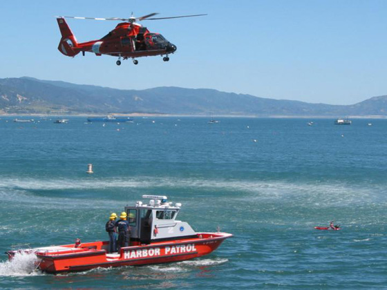 A joint training exercise Tuesday outside the Santa Barbara Harbor will include mock rescues from both the breakwater and boats. (Santa Barbara City Fire Department photo)