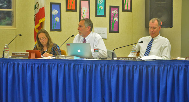 <p>Goleta Union School District Superintendent Bill Banning, center, recommended Arizona educator Bridget Braney to take over as Foothill Elementary&#8217;s principal. The Board of Trustees unanimously approved the hire on Wednesday night.</p>