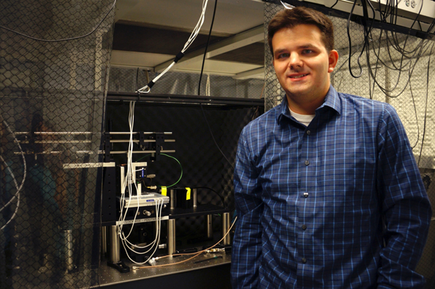 <p>UCSB postdoctoral physics scholar Matthew Pellicione with a confocal and atomic force microscope he uses in his work.</p>