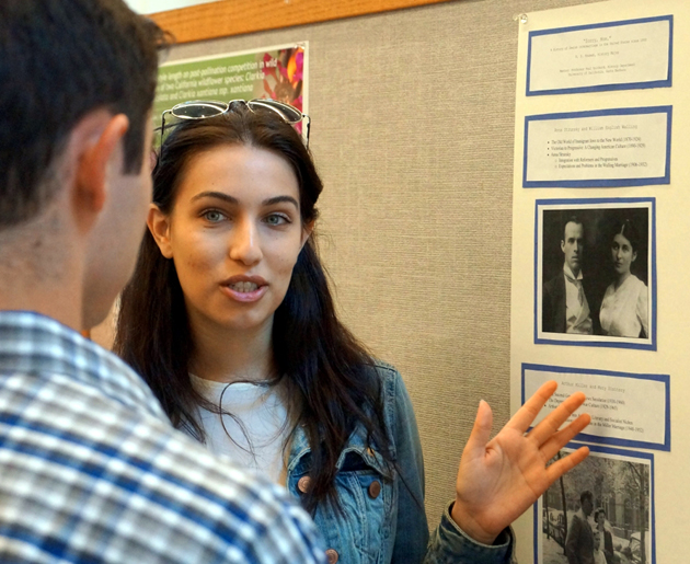<p>Roxanne Houman talks about the history of Jewish intermarriage since 1880 during UCSB&#8217;s Undergraduate Research Colloquium in the Corwin Pavilion.</p>