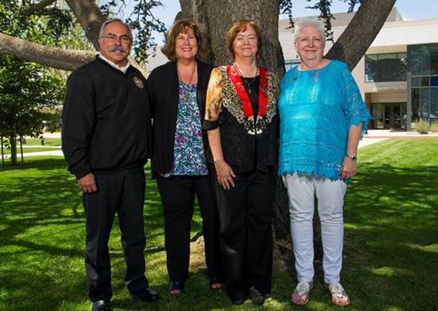 David Senior, left, Julie Kuras, Leslie Mosson and Donna Bishop were four of the nine retiring employees recognized by Allan Hancock College during a special ceremony Wednesday. The nine employees gave a combined 230 years of service to the college.