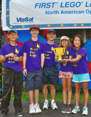 The Foothill School team celebrates the second-place finish at last weekend's FIRST LEGO League National Open Championship Robotics Tournament at Legoland in Carlsbad.