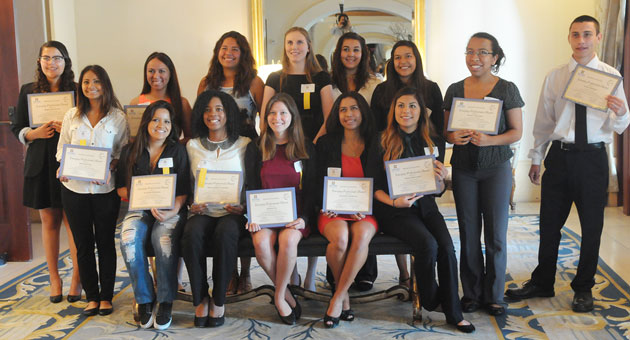 <p>Student interns from the education and nonprofit segment show off their awards at Thursday&#8217;s breakfast hosted by Santa Barbara Partners in Education.</p>