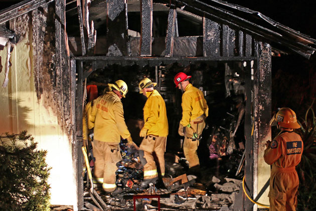 Fire severely damaged a single-car garage on the Mesa in Santa Barbara early Friday.