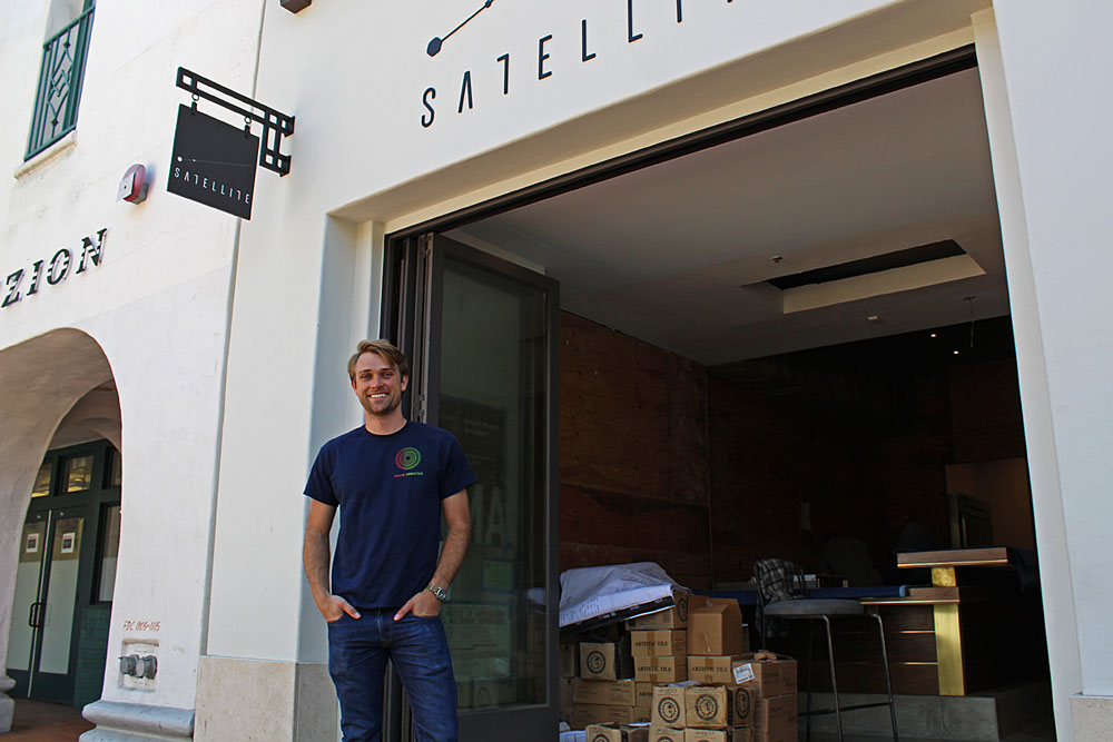 Wine bar and café Satellite will open next month in front of Impact Hub at 1117 State St. in Santa Barbara. Drew Cuddy, above, the wine aficionado behind the establishment, says the wine retailer also will will offer sandwiches, soups, salads and snacks, and catering.