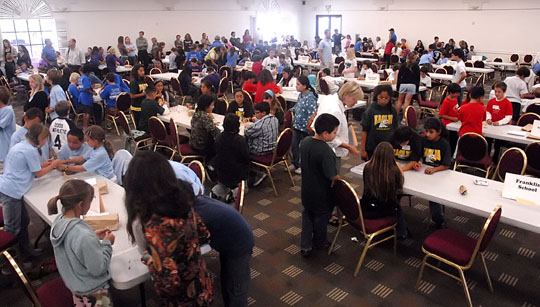 More than 330 fourth-, fifth- and sixth-graders from 29 local schools participate in Thursday's Math Superbowl at Earl Warren Showgrounds.