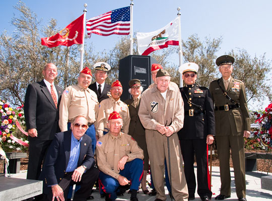 "Capt. Kenneth ""Lindy"" Linder, center, of the VMF 214 Black Sheep Squadron, and other local veterans attend the dedication of the World War II memorial at the Santa Barbara Airport on Thursday."