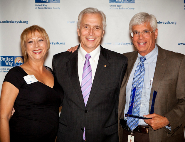 <p>Mary Jean Vignone, left, and George Leis, right, from Union Bank accept the Outstanding Employee &amp; Corporate Campaign award from Paul Didier, CEO and president of United Way of Santa Barbara County.</p>
