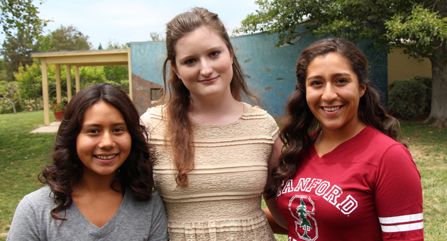 <p>Co-emcees Maria Zamora, left, and Ana Delgado, right, with guest speaker Alix Generous encouraged girls to be &#8220;Strong, Smart and Bold&#8221; at the 2014 Girls Inc. of Carpinteria Women of Inspiration Luncheon.</p>