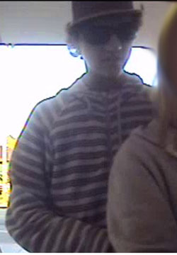 Surveillance image of armed-robbery suspect in Isla Vista. (Sheriff's Department photo)