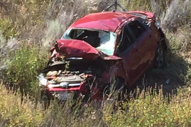 All that's left of a Ford Focus after a fatal rollover wreck 20 miles east of Santa Maria. (Santa Barbara County Fire Department photo)
