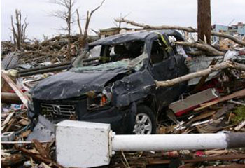 Steve and Dixie's truck was nowhere to be found after the tornado, but later surfaced amid the rubble.
