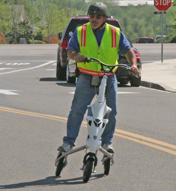 John Sanchez, a water meter reader for the City of Buellton, says his electric hybrid Trikke has made it easier for him to get around for his job, even cutting down on the time it takes to do it.