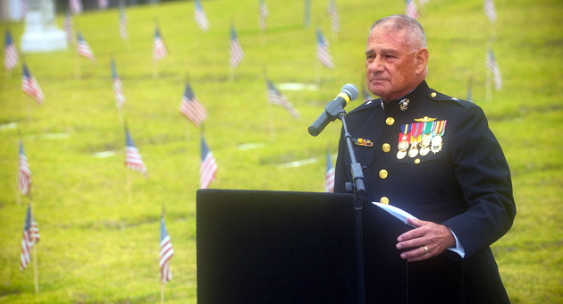 <p>Retired Brig. Gen. Fred Lopez of the U.S. Marine Corps delivers the keynote address during Monday morning&#8217;s Memorial Day ceremony at the Santa Barbara Cemetery, sponsored by the Pierre Claeyssens Veterans Foundation.</p>