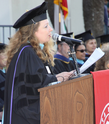 SBCC Superintendent/President Dr. Andreea Serban addresses the graduates.