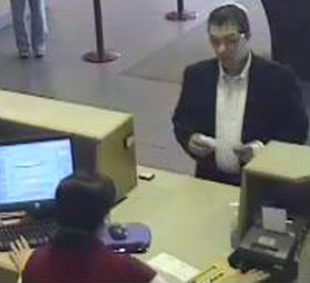 Surveillance photo shows the suspect in Friday's bank robbery at Santa Barbara Bank & Trust in Goleta.