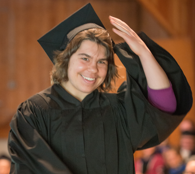 <p>Hannah Brothers of Santa Barbara is all smiles at her May 18 graduation from Marlboro College in Vermont.</p>