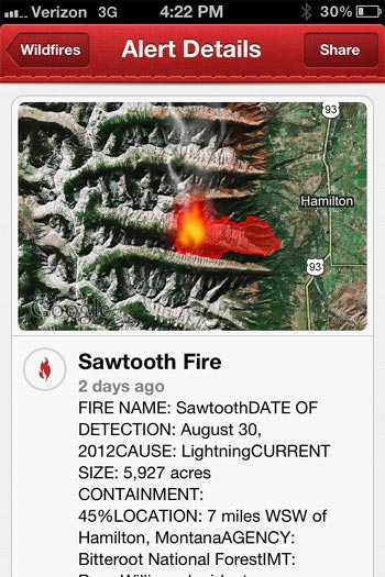 The Red Cross Wildfire App provides instant access to key information.